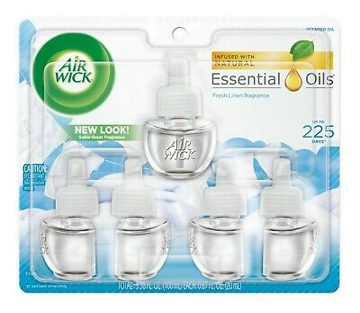 Air Wick Scented Oil 5 Refills, Snuggle Fresh Linen, 3.38 FL