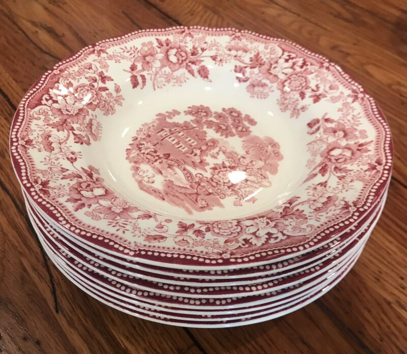 "8  Royal Staffordshire Tonquin Red Soup Bowls 8 "" Clarice Cliff"