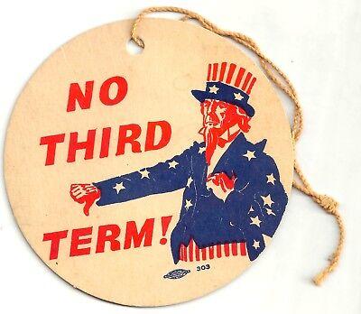 Thumbs Down Uncle Sam NO THIRD TERM Anti-FDR WILLKIE Hang - No Thumbs