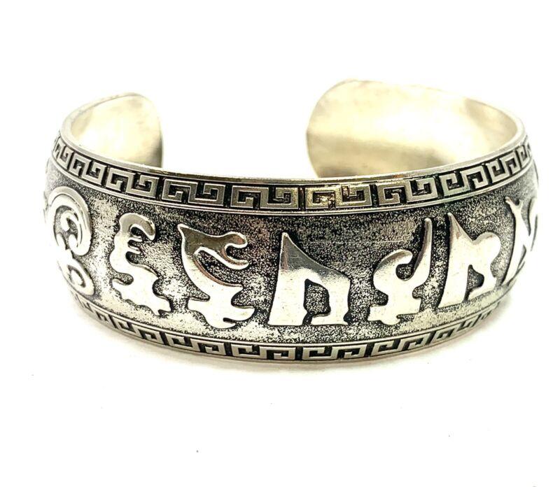 Sterling Silver Sanskrit Om Mani Padme Hum Cuff Bracelet