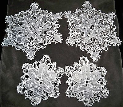 Set of 4 Doilies Polyester Lace