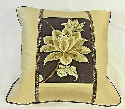 """EXOTIC FLOWER"" ACCENT PILLOW IN SILK TAFFETA WITH EMBROIDERED INSET, GOLD"