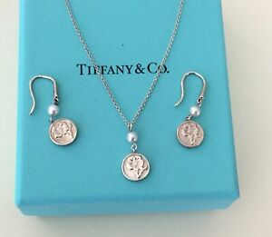 Authentic Tiffany & Co Nature Rose Earrings and Necklace