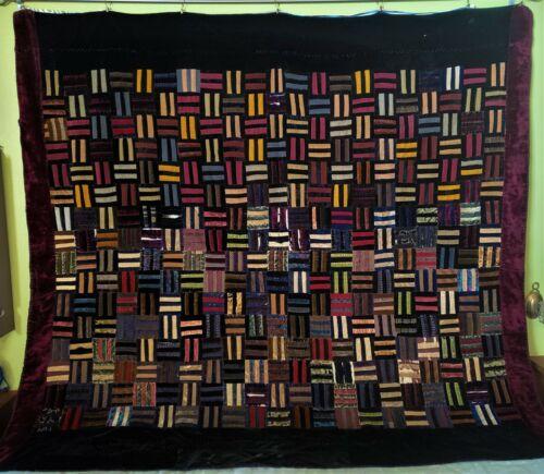 Antique Vintage Crush Velvet/Silk Quilt Handmade Picket Fence~Jewel Tones~69x74