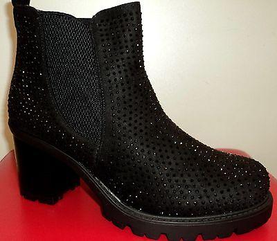 Damen Herbst Winter Glitzer Schuhe Stiefeletten Stiefel Ankle Boots 36-41Schwarz ()