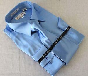 Mens-Satin-Shiny-Blue-Dress-Shirt-With-Tie-Hanky-Karl-Knox-Convertible-Cuff