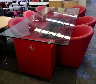 Used Large Glass Red Lamborghini Desk Collectors Table
