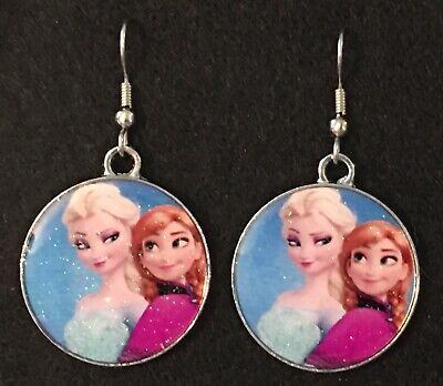 ELSA and ANNA Earrings Disney Surgical Hook New Frozen Ice Princess Sisters - Elsa And Anna Frozen