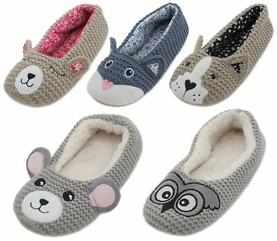 Zest Ladies Knitted Animal Character Ballet Slippers