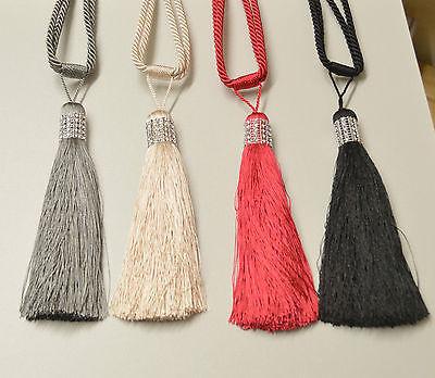 (Diamante Cord & Tassel Tie Backs (per pair))