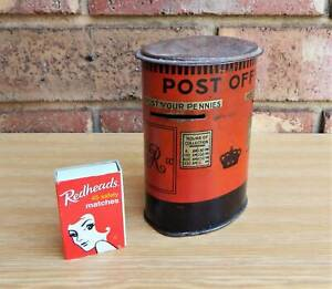 Antique English Post Office Tin Money Box