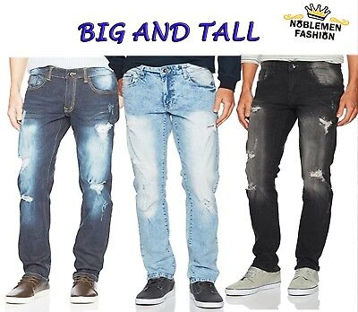 Big And Tall Stretch Jeans - MEN JEANS BIG AND TALL SLIM STRETCH FIT SLIM STRAIGHT FIT TROUSERS RIPPED PANTS