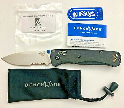 Benchmade 535S Blade w/ (Black Carve G10) Rogue Bladeworks Scales - Bugout Knife