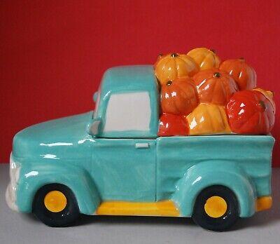 "Pumpkin Truck Cookie Jar Teal New handpainted mainstays blue 10"" L ceramic"