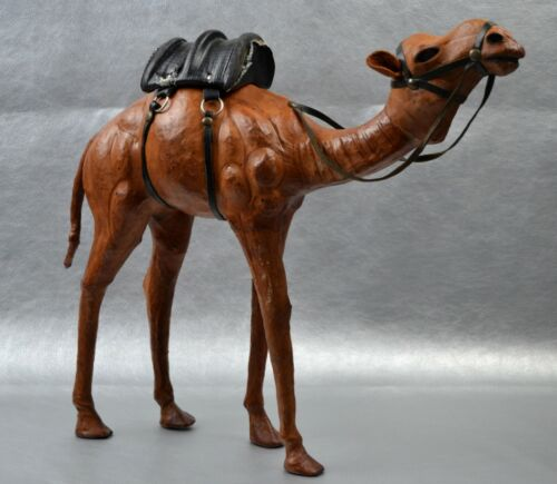 Vintage Leather Brown Camel Trek Camp Doll Black Saddle Desert Animal Figurine
