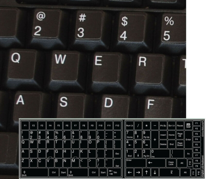 REPLACEMENT ENGLISH US KEYBOARD STICKER KEY FOR COMPUTER LAPTOP BLACK BACKGROUND