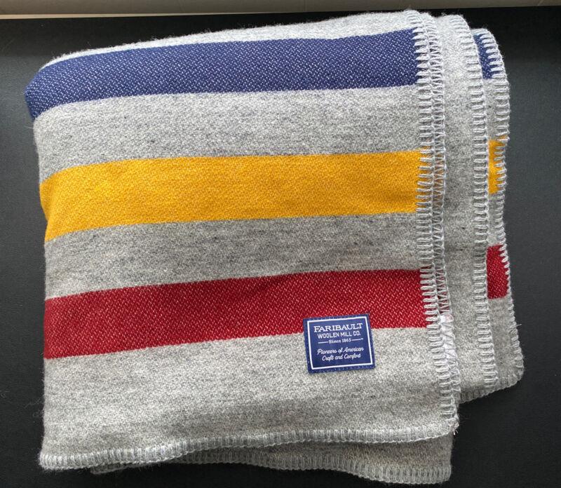 "Faribault Wool Throw Camp blanket Frontier Gray 3 Stripe 50x72"" NWT"