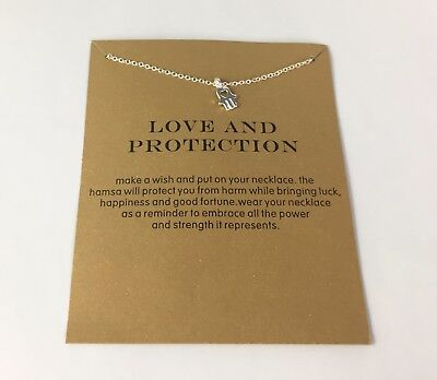 Love and Protection Hamsa hand necklace silver tone small dainty minimalist Hamsa Hand Protection