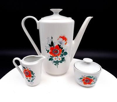 "KAHLA PORCELAIN GERMANY 3 PIECE ORANGE AND WHITE FLORAL 8 5/8"" COFFEE SET"