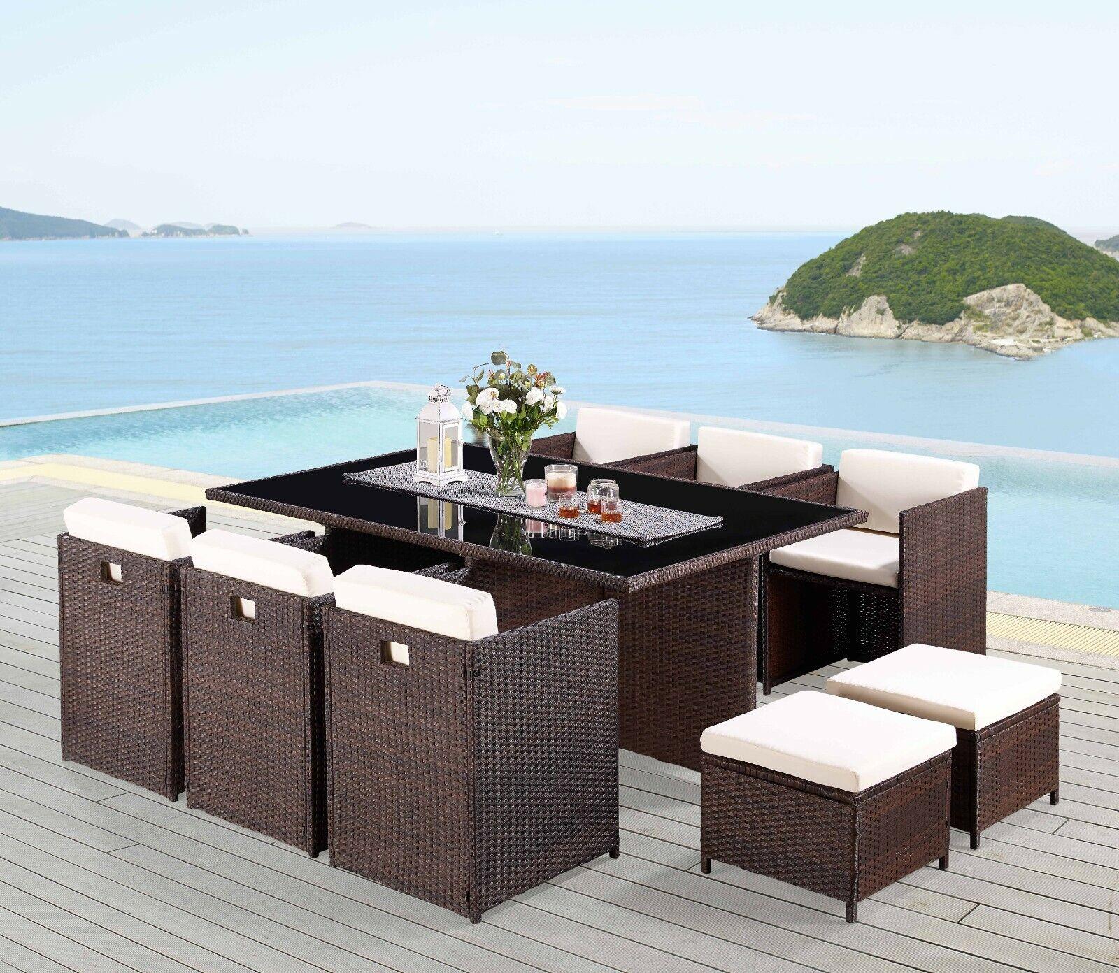 Garden Furniture - Rattan Garden Furniture Set 11 Piece Cube Outdoor Conservatory Patio Dining Set