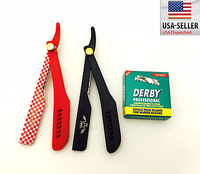 Straight Barber Shaving Razors + 100 Derby Blades Red/Black Cut Throat Shavette