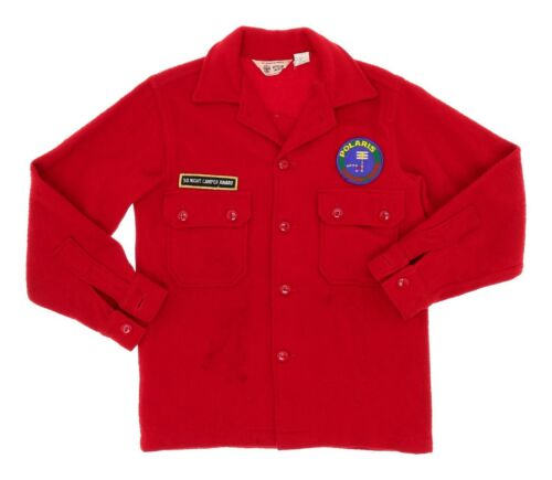 VINTAGE Patched BOY SCOUTS OF AMERICA Red WOOL Jacket Sz 16 Historic Trails Awrd