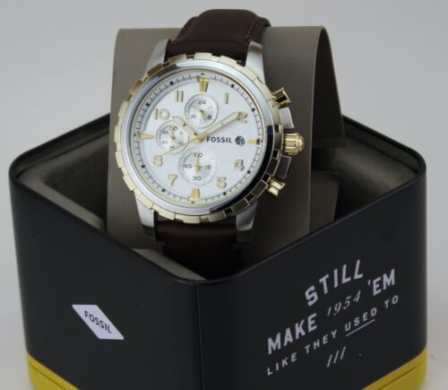 NEW AUTHENTIC FOSSIL DEAN CHRONOGRAPH SILVER BROWN LEATHER MEN