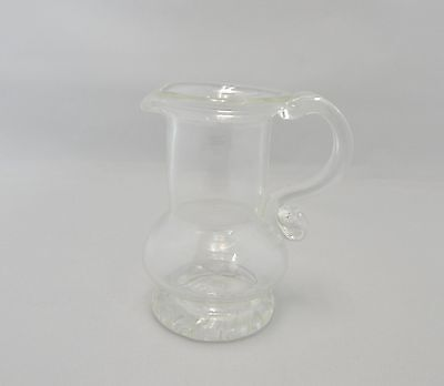 Hand Blown Glass Clear Pitcher Signed: BV 87
