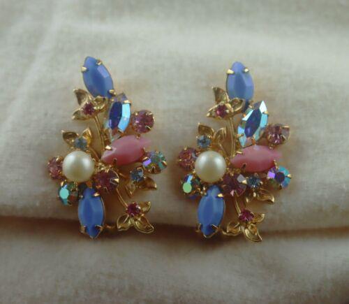 Elaborate Vintage Kramer Pink Blue Glass Rhinestone Flower Bouquet Clip Earrings