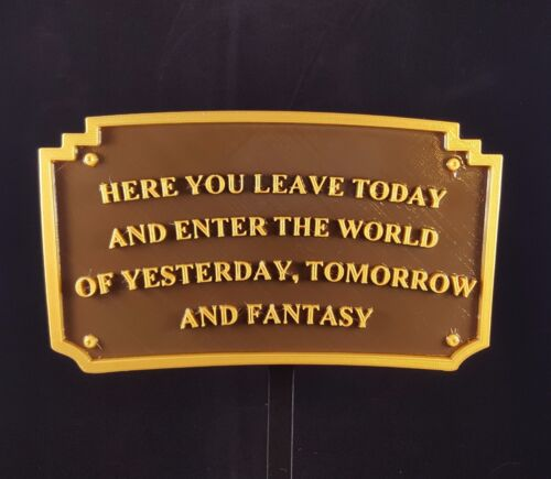"""8"""" Disneyland Here You Leave Today Entrance Welcome Plaque - Dual Color"""
