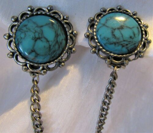 Vintage Turquoise Stone & Silver Tone Sweater Dress Scarf Guard Clip (25