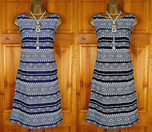 NEW-MONSOON-BLUE-BLACK-IVORY-WHITE-TRIBAL-SUMMER-TUNIC-SHIFT-DRESS-UK-SIZE-8-18