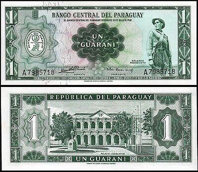 Paraguay 1 Guaranies 1952 Unc P 193A Small Sign Rivarola   Acosta 7 Digit Serial
