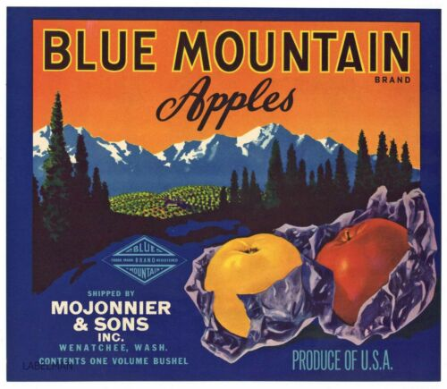BLUE MOUNTAIN  Brand, Wenatchee Washington **AN ORIGINAL APPLE CRATE LABEL** 208