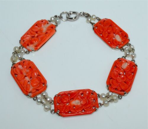 Old or Antique Chinese Carved Salmon Coral Pearl Sterling Silver Bracelet