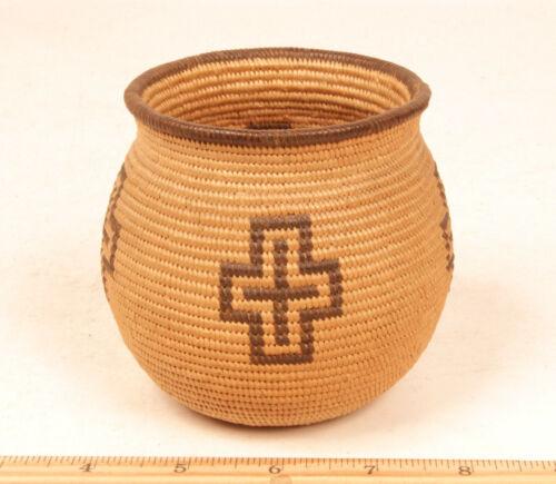 """Antique Chemehuevi Miniature Basketry Olla 4 1/4"""" x 3 3/4"""" c.1900 MINT - a """"10"""""""