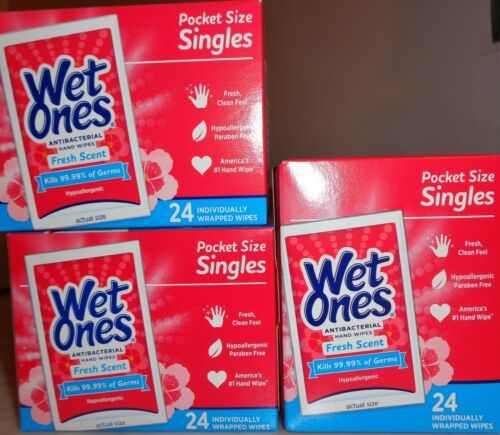 3 BOXES OF WET ONES POCKET SINGLES FRESH SCENT TOTAL OF 72 KILLS 99.99% GERMZ