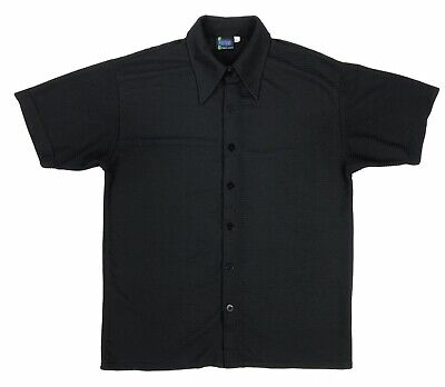 Vintage Positano Mens Large Short Sleeve Solid Black Knit Casual Button Up Shirt Mens Knit Casual Shirt