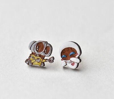 Wall E and Eve earrings handmade painted wood earrings stud costume jewellery - Wall E Eve Costume