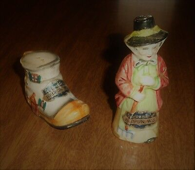 Vintage Souvenir Salt & Pepper Shakers - Old Lady & Boot Home Waupun Wisconsin
