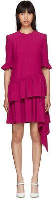 ALEXANDER MCQUEEN Leaf Crepe Asymmetric Ruffle Hem Drape Dress Sz 38 NWT $1,985