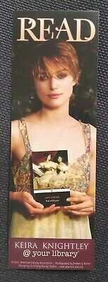 Kiera Knightley New RARE READ Promo Bookmark Bookmarker, Pride & Prejudice, 2005