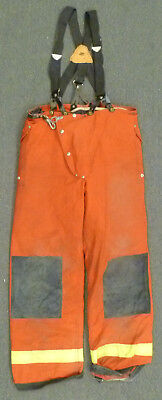 38x32 Janesville Red Pants With Suspenders Firefighter Turnout Fire Gear P969
