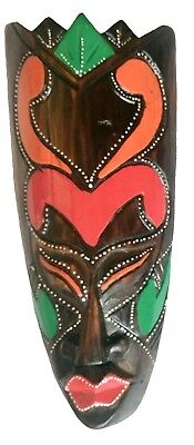 WOODEN WALL MASK AFRICAN DESIGN COLOURED / CARVED WOOD TRIBAL MASKS / BROWN