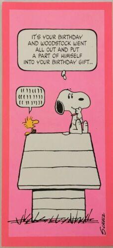 Peanuts Schultz Hallmark Birthday Card Snoopy Woodstock Gift Dog House (CB9)