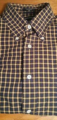 Nautica Long Sleeve 100% Cotton Button Collar Shirt Plaid Men's Size XL