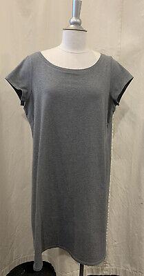 Eileen Fisher Heather Gray Short Sleeve Cotton T-Shirt Dress, Size Large