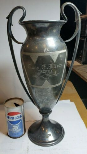 Giant Old Antique Huge Tall Loving Cup Trophy Silverplate 1922 Vintage Illinois