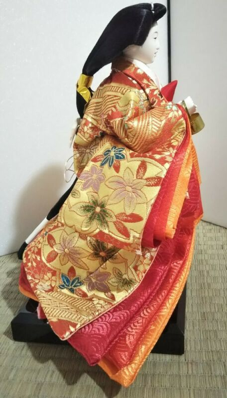 Vintage Japanese Hina doll in Kimono Geisha Plush Figure Emperor doll 9 inch 064