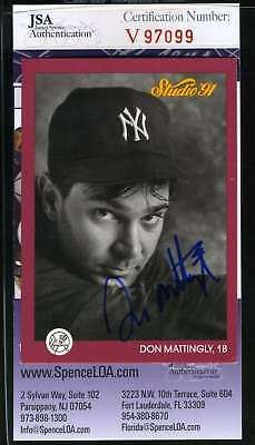DON MATTINGLY JSA Coa Hand Signed 1991 Studio Authentic Autograph